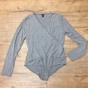 J. Crew Grey Wrap Bodysuit
